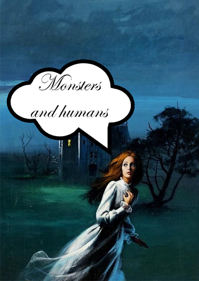 """A young woman in a nightgown flees from a manor, looking frightened. A text box over her head reads """"Monsters and humans."""""""