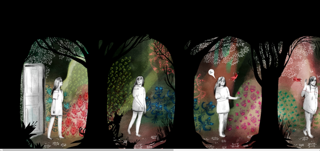 The young woman walks out into a beautiful and fantastical garden scene with lots of bright colors.